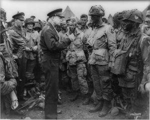 Eisenhower with U.S. paratroopers of the 502d Parachute Infantry Regiment, 101st Airborne Division on June 5, 1944